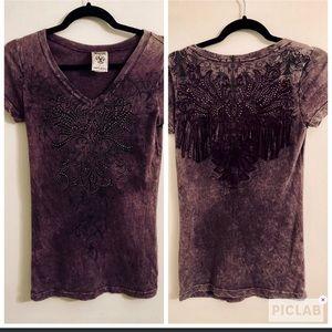 Vocal blinged fringe back purple T-shirt size S
